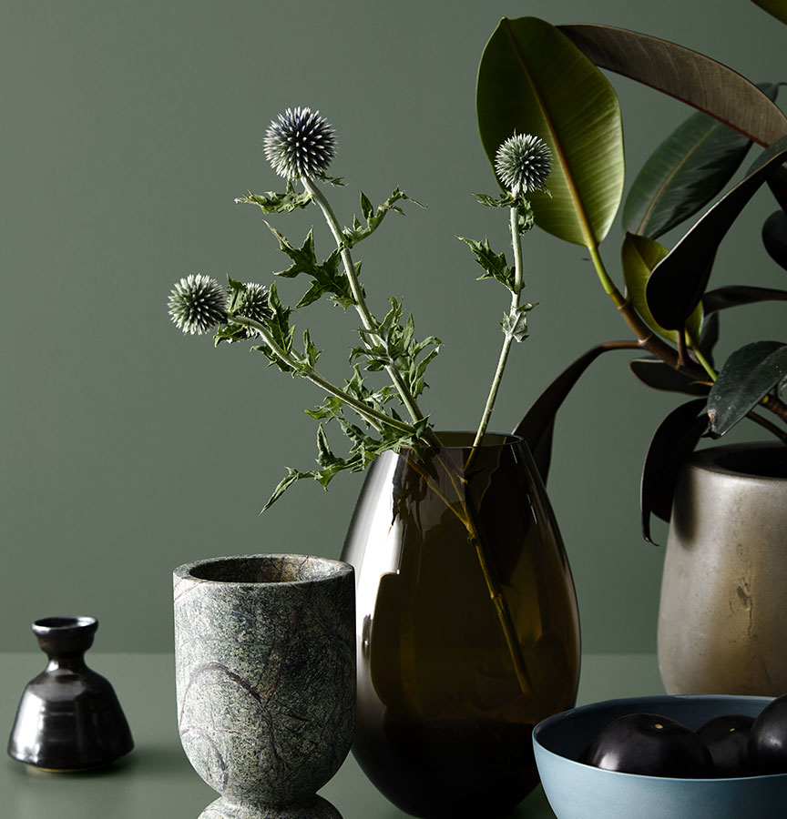 Still life featuring Laminex Colour Collection - Green Slate