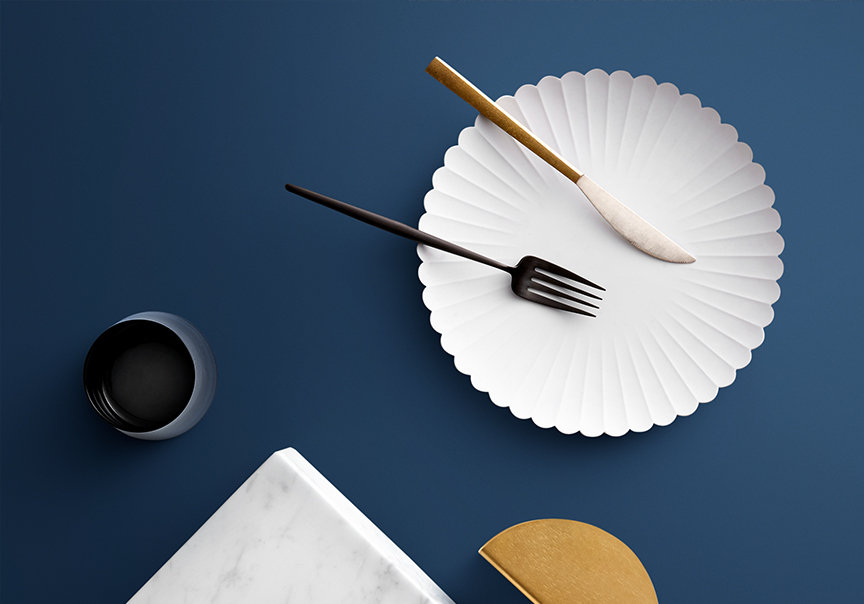 Flat lay featuring Laminex Colour Collection - French Navy