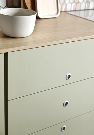 Cabinetry featuring drawers in Laminex Colour Collection - Seed and Benchtop in Laminex Colour Collection - Raw Birchply
