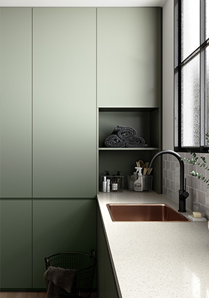 Cabinetry featuring Laminex Colour Collection in Green Slate and benchtop in Colour Collection Pure Mineralstone II
