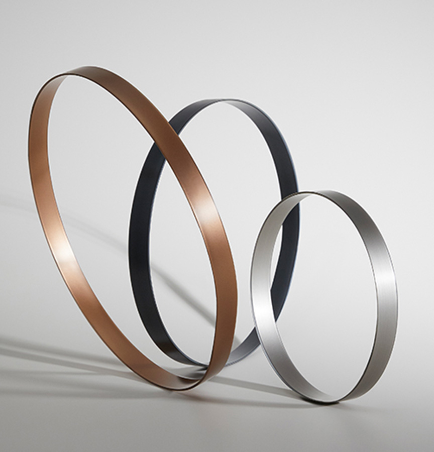 AbsoluteMatte Contrast Edging in Stainless Steel, Copper and Cool Line Graphite.